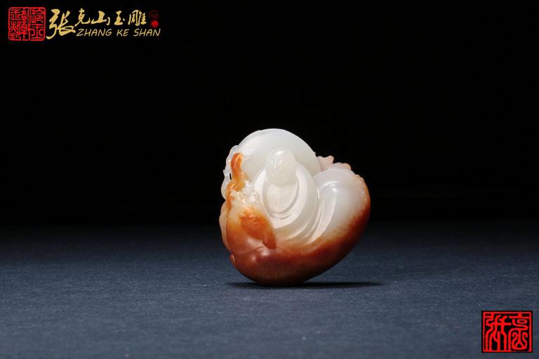 坐鹿罗汉 玲玉轩【张克山玉雕工作室】